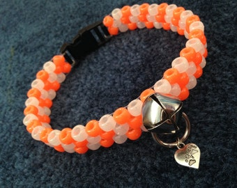 UV Orange and Glow Peyote Kandi Collar and Leash