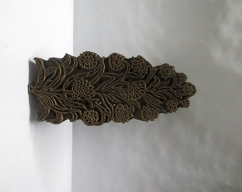 Vintage Indian wooden hand carved textile printing fabric block stamp fine detailed carving traditional Mughal floral Bunta design pattern