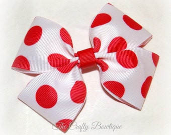Red & White Bow ~ Red Hair Bow ~ Large Polka Dot Bow ~ Red Polka Dot Bow ~ Large Red Bow ~ 4th of July Bow ~ Red Boutique Bow ~Patriotic Bow