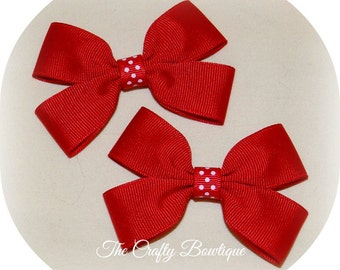 Red Hair Bow ~ Red Polka Dot Bow ~ Small Red Bow ~ Christmas Hair Bow ~ Red Clippies ~ Red Pigtails ~ Small Christmas Bow ~ LIttle Red Bow