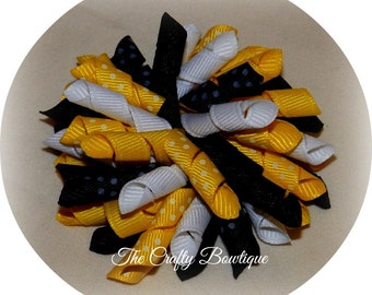 Black & Yellow Bow ~ Bumble Bee Bow ~ Black Korker Bow ~ Yellow Korker Bow ~ Bumble Bee Pigtails ~ Corkscrew Bow ~ Korker Pigtail Bows