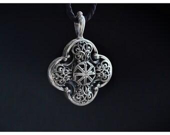 Pagan de Slavic KOLOVRAT colgante de plata proteger mal collar Eslava pagana