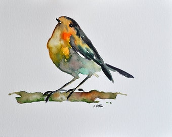 ORIGINAL Watercolor Painting Colorful Robin Bird Portrait 6x8 inch