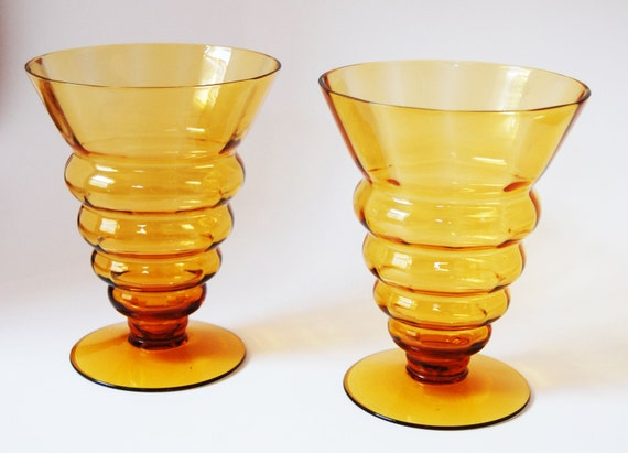 Gold Yellow Orange Mid Century Pair of Glasses