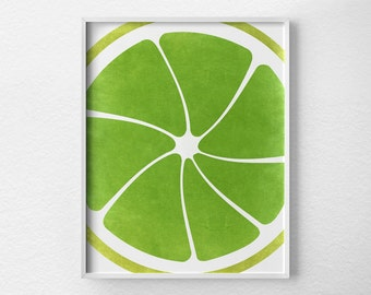 Lime Print, Citrus Print, Citrus Decor, Fruit Kitchen Art, Kitchen Decor, Kitchen Poster, Kitchen Print, Modern Decor, Lime Green Art, 0088