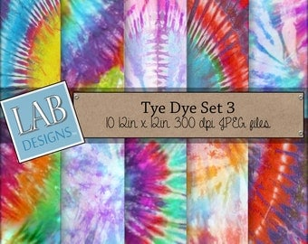 Tie Dye Digital Paper - Hippie Peace Rasta - Digital Paper - Instant Download Seamless Raiinbow Printable Background for Personal Use
