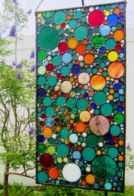 Custom Stained Glass Panel Abstract Stained Glass Circle