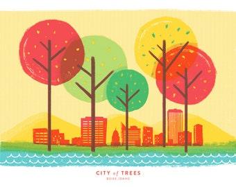Boise City of Trees - Boise Art Print - Idaho Art Print