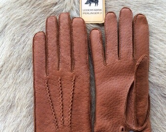 Peccary Leather Gloves with cashmere lining - Men's Leather Glove - Driving Gloves