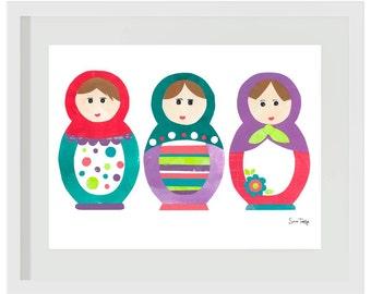 Art Print for Kids, Children's wall art, Nursery wall art, Babushka Print: 3 Babushka Dolls #2