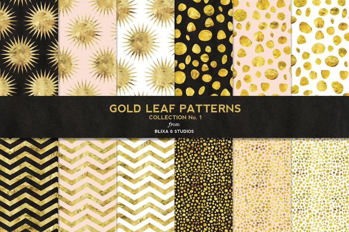 gold leaf digital paper patterns for scrapbooks by. Black Bedroom Furniture Sets. Home Design Ideas