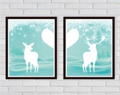 Winter Theme Doe and Buck - Couple Deer Art Print Long Distance Couples Snow - Art Print for Valentine's Day Nursery Decoration