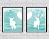 Winter Theme Doe and Buck - Couple Deer Art Print Long Distance Couples Snow - Art Print for Valentine's Day Nursery Decoration