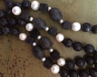 Lava stone and cultured pearl long necklace