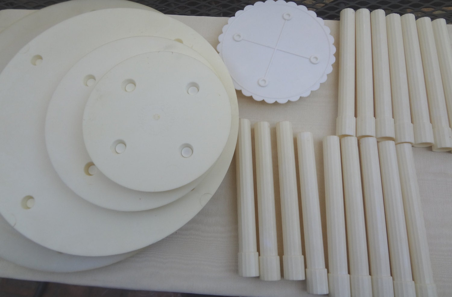 Vintage Wedding Cake Stand and Pillars Ivory Professional