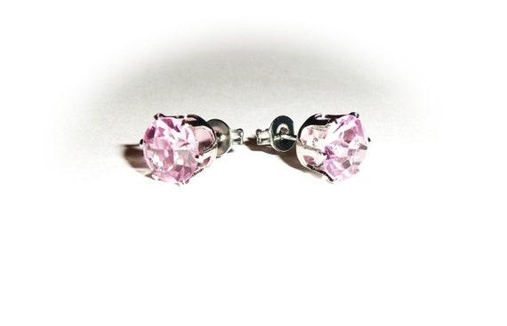 Pink Stud Crystal Rhinestone Earrings