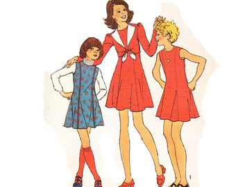 Simplicity 6691 Girl's or Chubbies' Dress or Jumper and Unlined Jacket
