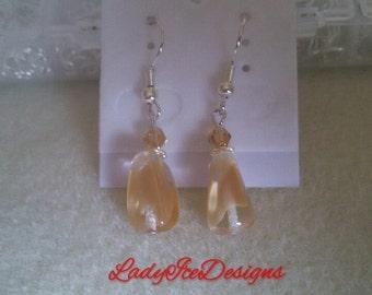 yellow teardrop bead earrings