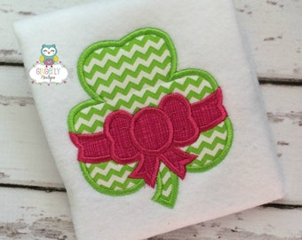 Shamrock with Bow St Patricks Day Shirt or Bodysuit, Girl Shamrock Shirt, Girl St. Patricks Day Shirt, St. Patricks Day Shirt, Bow Shamrock