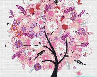 Tree with Flowers PDF Cross Stitch Pattern