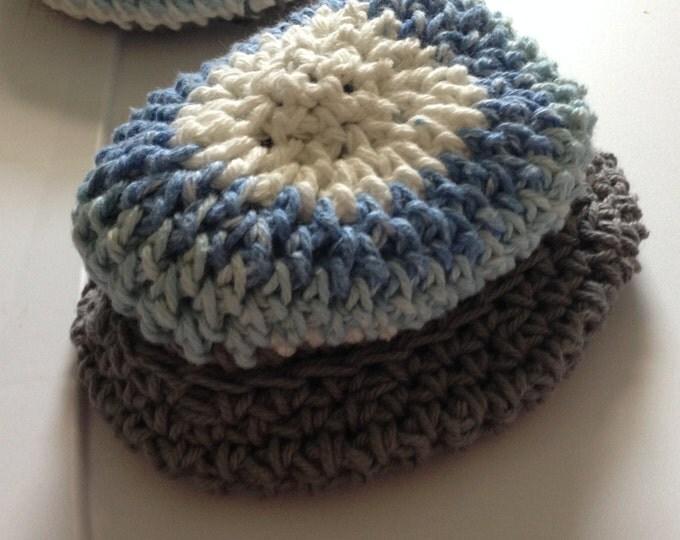 blue, grey & white crochet cap size 3 months