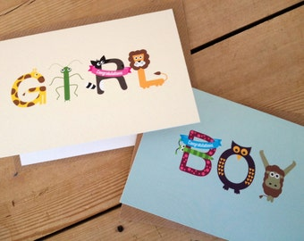 New baby Boy/Girl greeting card A6  abc congratulations