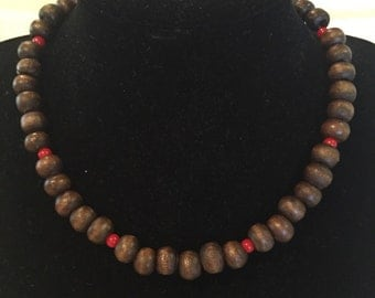 Brown Beads with Coral