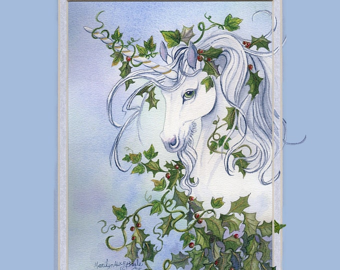 PRINT FANTASY UNICORN, 90 lb watercolor paper, holly, ivy, head and shoulders, vine,hand enhanced mat, 11 x 14 inch double mat, blue color,