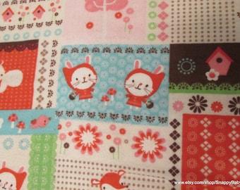 Flannel Fabric - Bunny Block - 1 yard - 100% Cotton Flannel