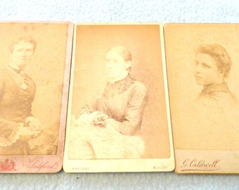 FREE POST - Selection of Three Antique CdV Carte De Visite Photo Cards, Lady Theme, Great Collectibles, Calling Cards, Job Lot, Decor