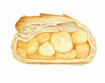 Apple Turnover Drawing // Food Illustration // Art for kitchen