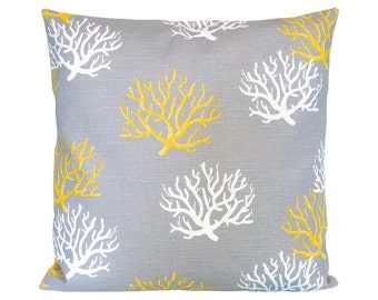 Pillowcase patterns of coral linen structure ISADELLA grey-yellow 50 x 50 cm