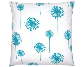 Pillowcase dandelion flower DANDELION 50 x 50 cm white turquoise