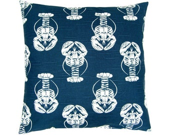 LOBSTER Cushion cover 40 x 40 cm blue white maritim