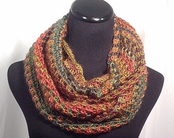Autumn Striped Infinity Crochet Scarf