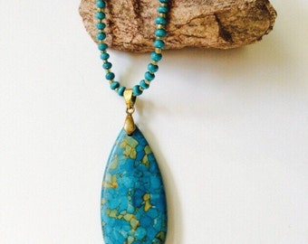 Tear Drop Mosaic Turquoise Necklace.