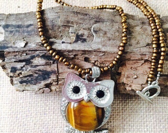 Tiger's Eye Owl Necklace.