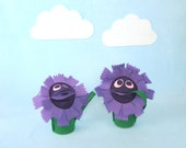 Purple Flower Hand Puppet Kids Toy Eco Friendly Eco-fi Felt Childs Bachelor Button Flower Toy Birthday Party Holiday Gift