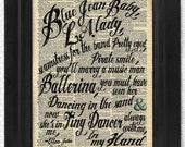 Elton John, Tiny Dancer, Blue Jean Baby, L.A. Lady Transformative Lyric, on Antique Dictionary Art Print,Wall Decor,Wall Art Mixed Collage
