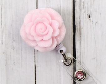 Pink Rose Sparkle Flowers  Name Badge Holder - Bottle Cap Badge Reel - Unique Retractable ID Badge Holder - Lanyard