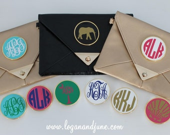 Logan and June Monogrammed Custom Leather Clutch