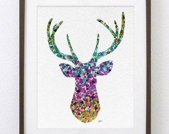 Geometric Deer Art - Watercolor Print 8x10 Archival Print - Deer Painting, Deer Art Print - Wall Decor Art Home Decor Housewares, Gifts
