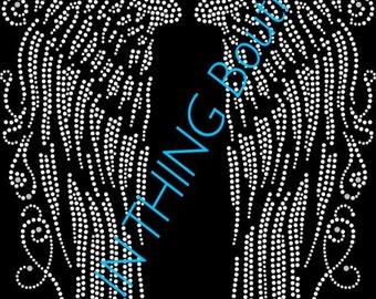 ANGEL WINGS Rhinestone Transfer HotFix IrOn On Feathers LARGE !!