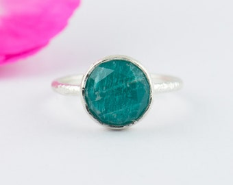 Amazonite Silver Round Ring - Amazonite Gemstone Ring - Handmade Bezel Ring - Size 4 5 6 7 8 9 10