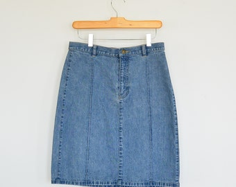 Vintage Simple Denim Skirt Pencil Skirt Liz Clairborne Lizwear Jeans
