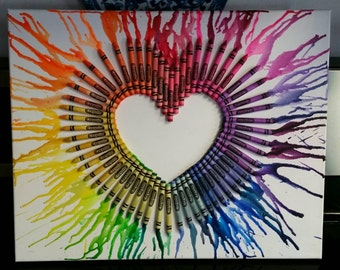 Rainbow Heart Crayons on Canvas