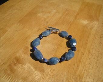 blue stone and lapis pewter bracelet