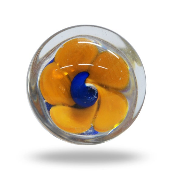 Glass Floral Door Knob in Yellow and Blue, Fun and Unique Flower ...