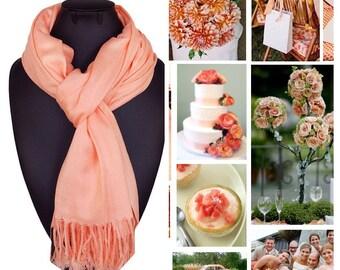 Peach-orange pashmina scarf shawl / personalized initial shawl / bridesmaid shawl / wedding favor / spring summer wedding /