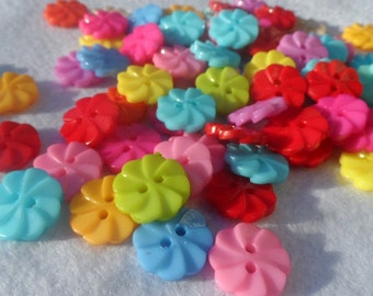 50 Buttons Roll - Flower - Pinwheel - Propeller Mix color 13mm